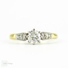 Vintage Diamond Engagement Ring, Round Brilliant Cut Diamond in Classic Diamond Accented 18ct Yellow Gold Setting, Circa 1930s.