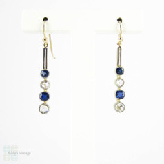 Sapphire & Rose Cut Diamond Drop Earrings, Bezel Set Graduated Dangle Earirngs. 15ct & Platinum, Victorian Conversion.