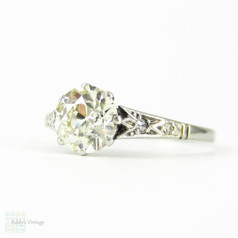 Old European Cut Diamond Engagement Ring, 1.33 ctw Engagement Ring in PLAT Filigree Setting. Art Deco, Circa 1920s.