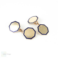 Vintage 9ct Cuff Links with Blue Enamel.  Double Faced Octagonal Shape Cufflinks with Royal Blue Enamel Decoration. Circa 1930s.