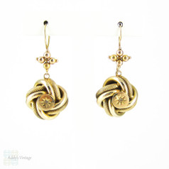 Victorian Love Knot Dangle Earrings with Diamonds, Large Antique 9 Carat Gold Lover's Knot Design Pierced Earrings, Circa 1880s.