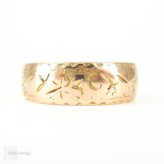 Antique 9ct Rose Gold Wedding Ring, Wide Cigar Foliate Design Engraved Edwardian Rose Gold Band. Circa 1910s, Size P.5 / 8.