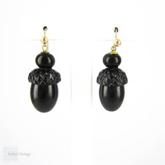 Vintage Acorn Drop Earrings with 9ct Gold Wires, Victorian Style Early Plastic Dangle Earrings.
