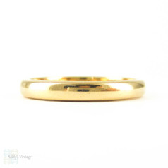 Antique 22 Carat Gold Wedding Ring. Light Dome Classic Narrow Ladies Wedding Band. Circa 1890s, Size N / 7.