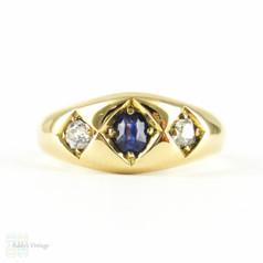 Victorian Sapphire & Diamond Ring, Three Stone 18 Carat Yellow Gold Band. Blue Sapphire & Old Mine Cut Diamonds, Circa 1880s.