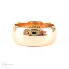 Antique Wide 9 Carat Rose Gold Wedding Ring, Early 20th Century, 1900s Ladies Wide Wedding Band. Size K.5 / 5.5.