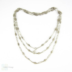 Antique 1900s French Silver Chain, Edwardian Fancy Link Long Guard Necklace. Circa 1900s, 120 cm / 47 inches.