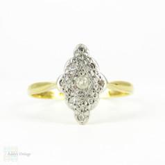 Edwardian Navette Shape Diamond Ring, Elongated Diamond Cluster Ring with Miligrain Detail. Circa 1900, 18ct & Plat.