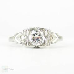RESERVED. Art Deco Platinum Engagement Ring, 0.32 ctw Brilliant Cut Diamond in Geometic Shape 1930s Setting.