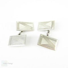 Art Deco Sterling Silver Cuff Links, Men's Engine Turned Rectangular Shape Double Faced Cufflinks. Circa 1930s.