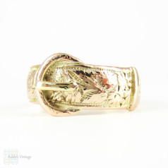 Antique 9ct Gold Buckle Ring, Edwardian Floral Engraved Buckle Ring. Circa 1900s, Size O.5 / 7.5.