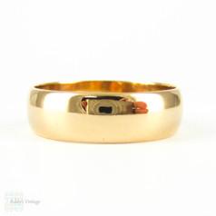 Antique 22ct Wide Wedding Ring, Edwardian 1910s Men's or Women's D Shape Profile Wedding Band. Size O.5 / 7.5.