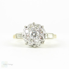 Retro Diamond Engagement Ring, Round Cluster Ring  with Baguette Diamonds in 18ct & Plat. Circa 1940s, 0.42 ctw.