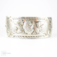 Victorian Aesthetic Sterling Silver Bracelet, Antique Rose Flower Blossoms & Engraved Design Bangle. Circa 1880s.