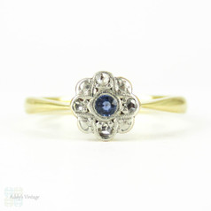 Sapphire & Rose Cut Diamond Flower Ring, Vintage Daisy Shaped Cluster Ring. 18ct & Plat, Circa 1920s.