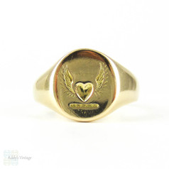 BALANCE Art Deco Flying Heart Signet Ring, 1930s Heart with Wings Ladies 14ct Yellow Gold Sentimental Ring.