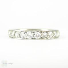 Art Deco Platinum & Diamond Wedding Ring, 0.70 ctw Diamond Half Eternity with Engraved Design. Circa 1910s, Size N.5 / 7.