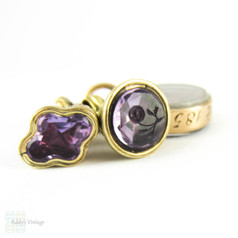 Antique Miniature Amethyst Seals & Hair Locket, Victorian Small Trinkets Charms on Split Ring, Pinchbeck and 9 Carat Gold, 1850s.