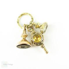 Set of Antique 19th Century Seals, Fobs, Watch Key. Miniature Georgian & Victorian Gold Filled & Pinchbeck Seals.