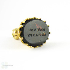 Antique Bloodstone Seal, Gilt Floral Design Fob Engraved May You Be Happy. Circa 1800s.