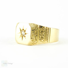 Art Deco Diamond Signet Ring, Engraved Men's Signet Ring with Single Diamond. 18ct Gold, Circa 1930s.