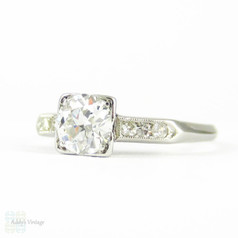 Art Deco Diamond Engagement Ring, Old European Cut in Square Shape Setting, 0.62 ctw Stamped Platinum.