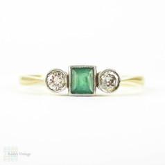 Emerald & Diamond Three Stone Engagement Ring, Bezel Set Square Cut Emerald & Round Diamonds. Circa 1930s, 18ct & Plat.