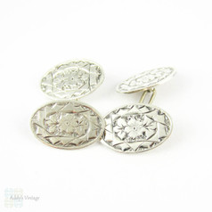 Victorian Sterling Silver Cuff Links, Men's Floral Engraved Oval Shaped Double Face Cufflinks. Full English Hallmarks, 1890s.
