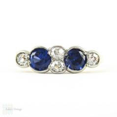 Victorian Sapphire & Diamond Ring, Vivid Blue Sapphire with Old Mine Cut Diamond Spacers. Circa 1890s, 18ct.