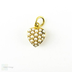 Antique Seed Pearl Heart Charm. 15ct Yellow Gold Victorian Small Pave Set Pendant, Circa 1880s.