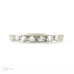 Vintage Paste Eternity Ring in Sterling Silver, 1930s Full Hoop Eternity Band with Engraved Sides. Size M.5 / 6.5.