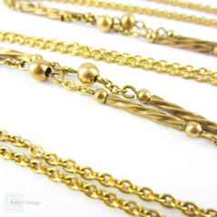 Antique Pinchbeck Long Guard Chain, 19th Century Fancy Link Twisted Rod & Ball Chain Necklace. 145 cm / 57 inches.