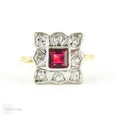 Art Deco Synethic Ruby Ring with Diamond Halo. Square Shape Design, Circa 1930s, 18ct Plat.