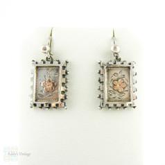 Victorian Sterling Silver Dangle Earrings, Engraved 9ct Rose Gold Flower Design Drop Earrings. Circa 1880s.