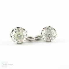 Vintage White Topaz Sterling Silver Earrings, French Buttercup Style Clip On Large 1940s Earrings.