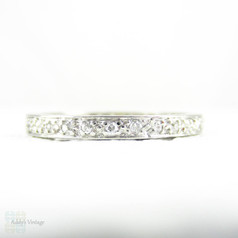 Antique Platinum Diamond Eternity Ring, Narrow 0.30 ctw Diamond Full Hoop Wedding Ring. Circa 1900s, Size L.5 / 6.