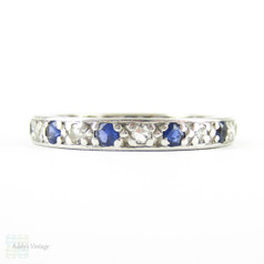Vintage Sapphire & Diamond Eternity Ring, Alternating Blue Sapphires & Diamonds. Circa 1930s, 18ct, Size M.5 / 6.5.