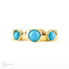 Antique 22 Carat Gold Wedding Ring Set with Three Turquoise. Ladies Gemstone Ring, Circa 1880s, Size L.5 / 6.
