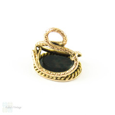 Victorian Snake Seal Engraved Charlotte, 15ct Gold & Bloodstone Fob. Circa 1860s, 15k Yellow Gold.