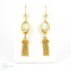 Antique 9ct Gold Hoop & Tassel Earrings, Long Articulated Dangle Earrings. Circa 1900.