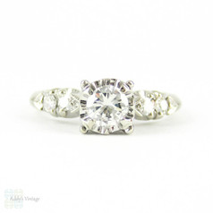Diamond Engagement Ring, Vintage Round Brilliant Cut Diamond in 1940s Illusion Style 14K White Gold Setting, 0.45 ctw.