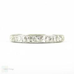 Antique Engraved Orange Blossom Pattern Wedding Ring, Platinum Narrow Flower Design Band. Circa 1910s, Size N / 6.75.
