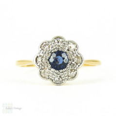 Antique Sapphire & Diamond Engagement Ring, Edwardian Cornflower Blue Sapphire with Diamond Halo in Floral Cluster Shape. 18ct & Plat.
