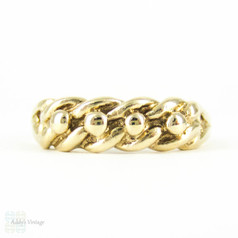 Vintage 9ct Keeper Ring, Victorian Style Keeper Knot Ring in Yellow Gold. London, 1980s, Size P / 7.75.
