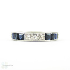 Sapphire & Diamond Eternity Ring, Art Deco Full Hoop Wedding Ring Channel Set in Platinum. Size L.5 / 6, Circa 1930s.