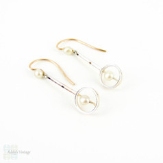 Vintage Cultured Pearl Drop Earrings, Small Silvery Cultured Pearl in Circle Shape Drop. 15ct & Platinum, Circa 1910s.