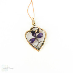 Antique Amethyst Flower Love Heart Pendant, 9 Carat Gold Flower in Knotted Heart Frame. Edwardian Era Pendant on 9k Gold Chain.