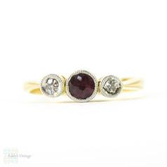 Antique Garnet & Diamond Three Stone Ring, Bezel Set Engagement Ring with Milgrain Edge. Circa 1900, 18ct & Platinum.