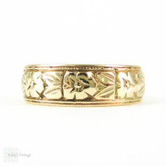 Antique 9ct Orange Blossom Wedding Ring, Engraved Flower Design Wedding Band. Circa 1900, Size N.5 / 7.