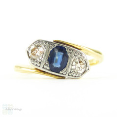 Antique Oval Sapphire & Old Mine Cut Diamond Three Stone Ring, Bypass Style Vintage Engagement Ring. Circa 1900, 18ct & PLAT.